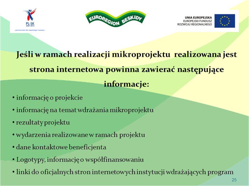Jeśli w ramach realizacji mikroprojektu realizowana jest strona internetowa powinna zawierać następujące informacje: