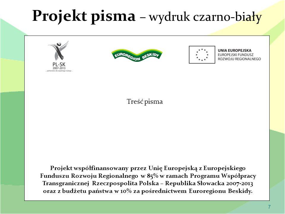Projekt pisma – wydruk czarno-biały
