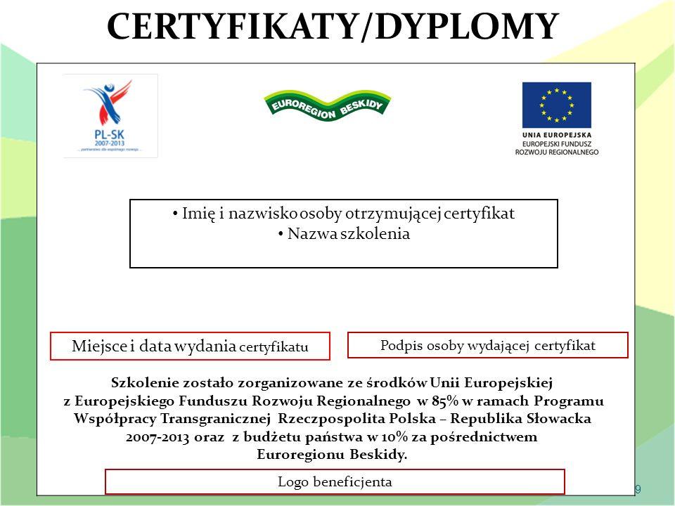 CERTYFIKATY/DYPLOMY Imię i nazwisko osoby otrzymującej certyfikat