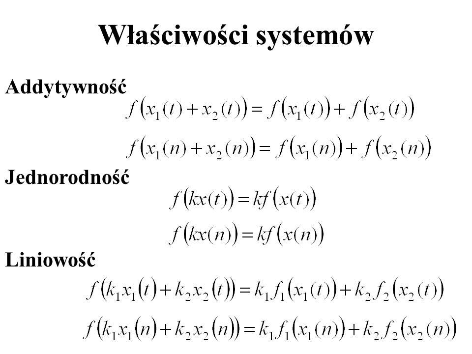 Właściwości systemów Addytywność Jednorodność Liniowość