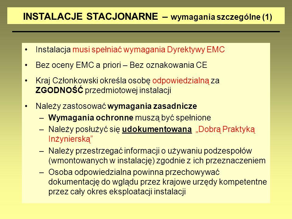 INSTALACJE STACJONARNE – wymagania szczególne (1)
