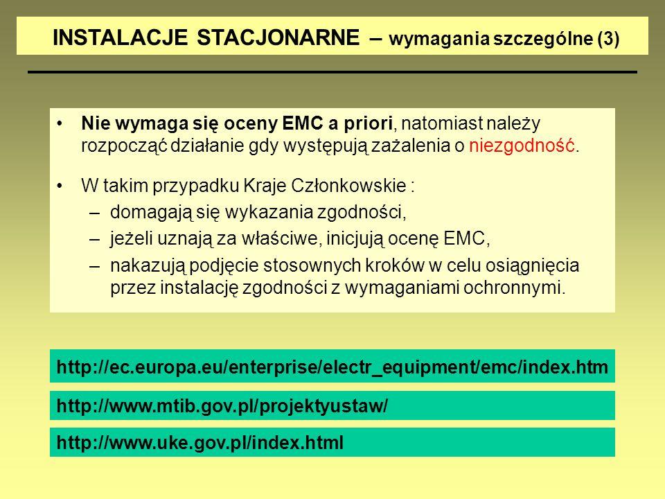 INSTALACJE STACJONARNE – wymagania szczególne (3)
