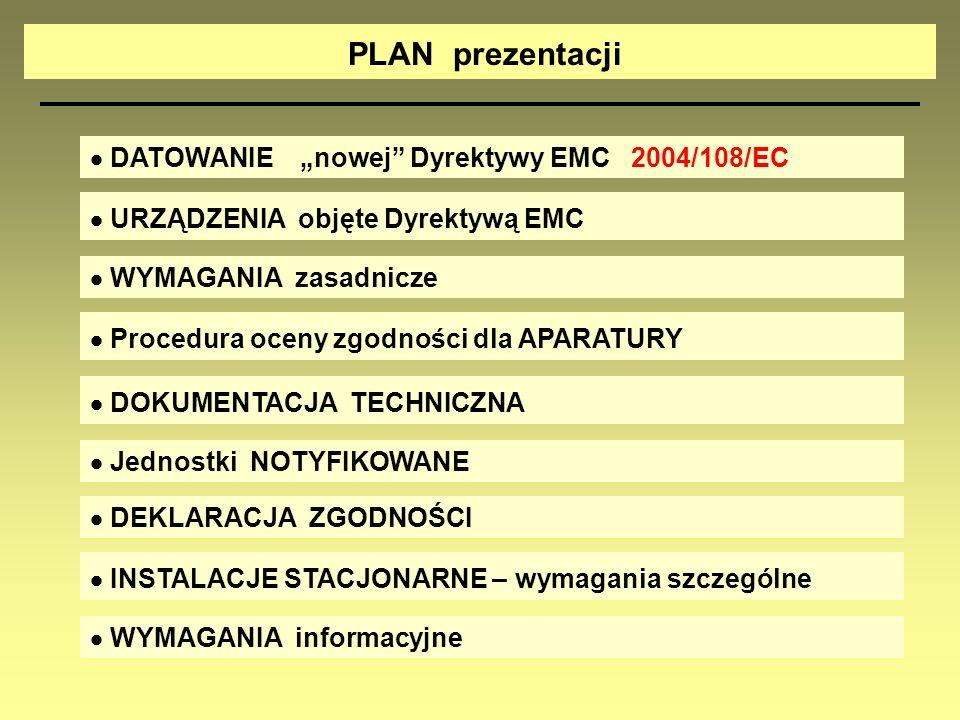"""PLAN prezentacji  DATOWANIE """"nowej Dyrektywy EMC 2004/108/EC"""
