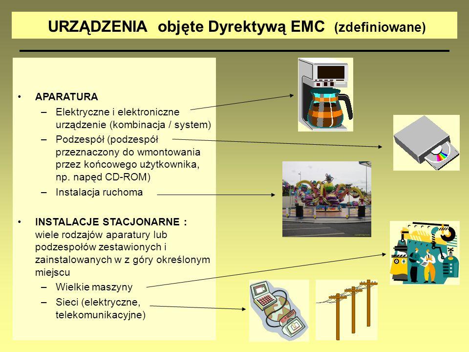 URZĄDZENIA objęte Dyrektywą EMC (zdefiniowane)