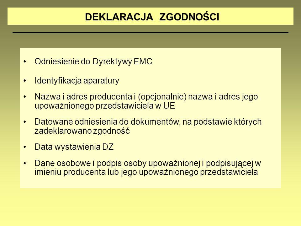 DEKLARACJA ZGODNOŚCI Odniesienie do Dyrektywy EMC