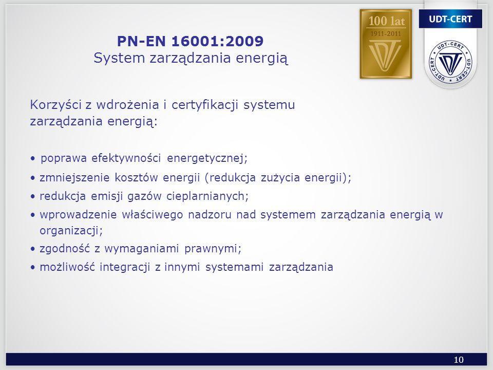 PN-EN 16001:2009 System zarządzania energią