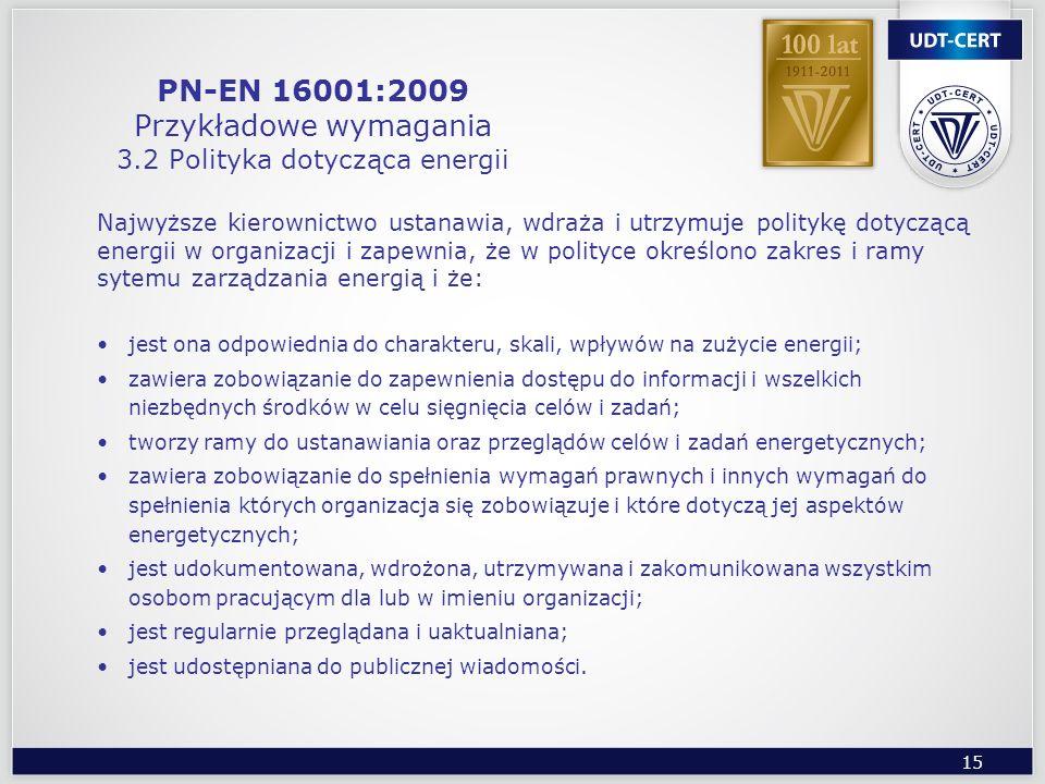 PN-EN 16001:2009 Przykładowe wymagania 3.2 Polityka dotycząca energii
