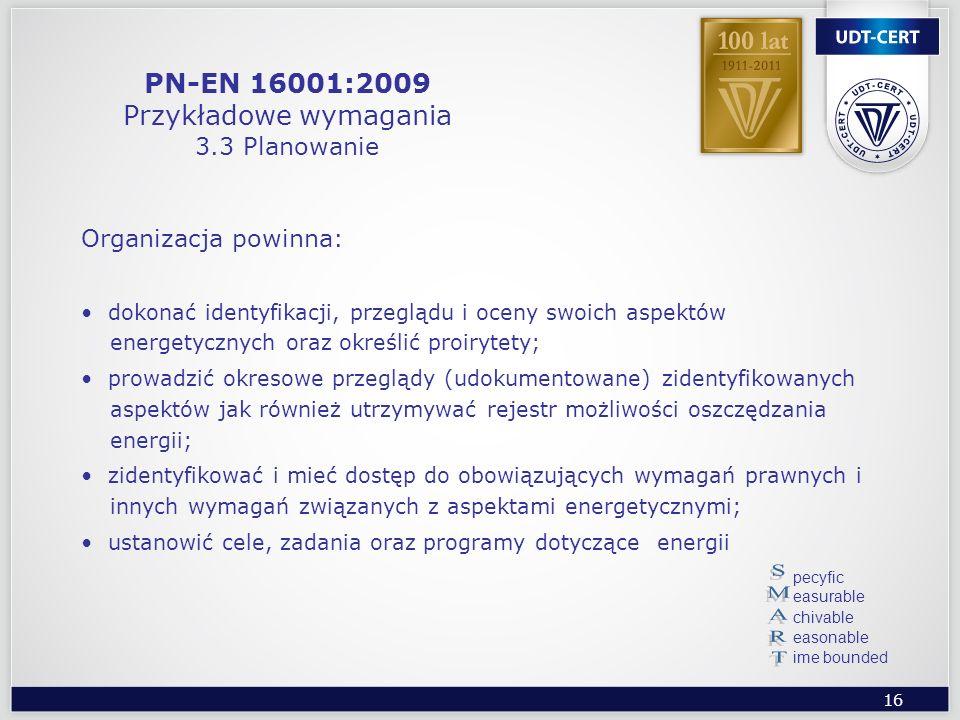 PN-EN 16001:2009 Przykładowe wymagania 3.3 Planowanie