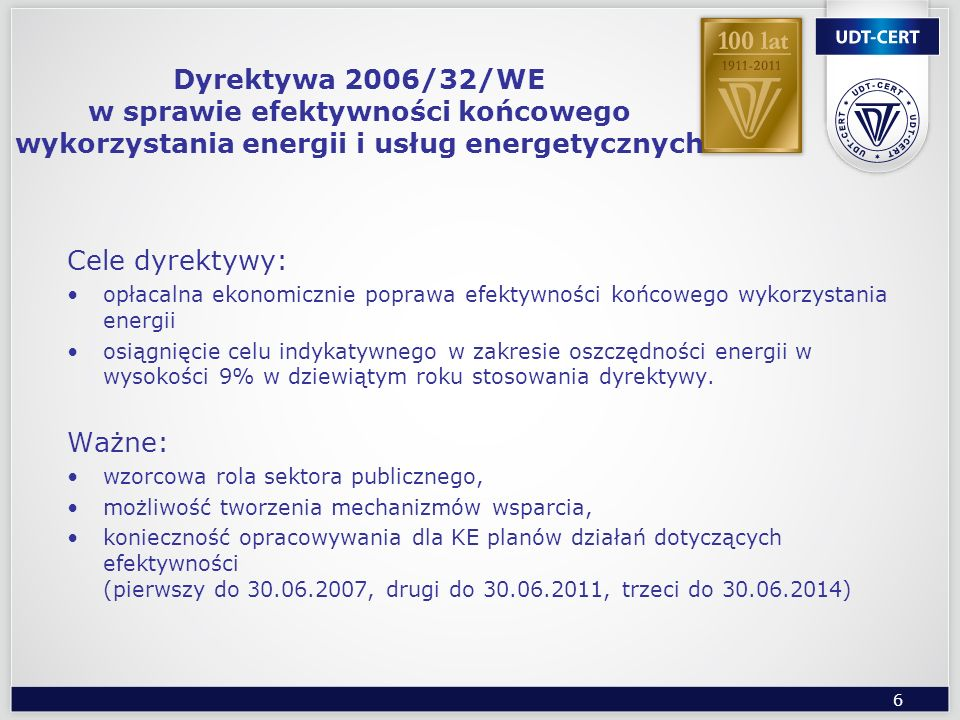 Dyrektywa 2006/32/WE w sprawie efektywności końcowego wykorzystania energii i usług energetycznych