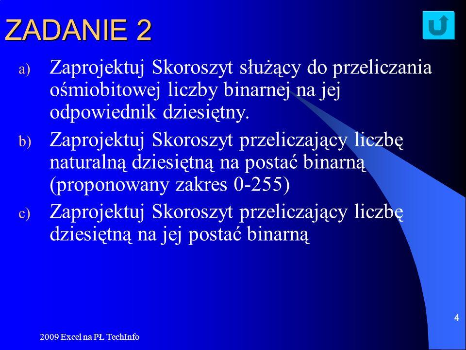 ZADANIE 2Zaprojektuj Skoroszyt służący do przeliczania ośmiobitowej liczby binarnej na jej odpowiednik dziesiętny.