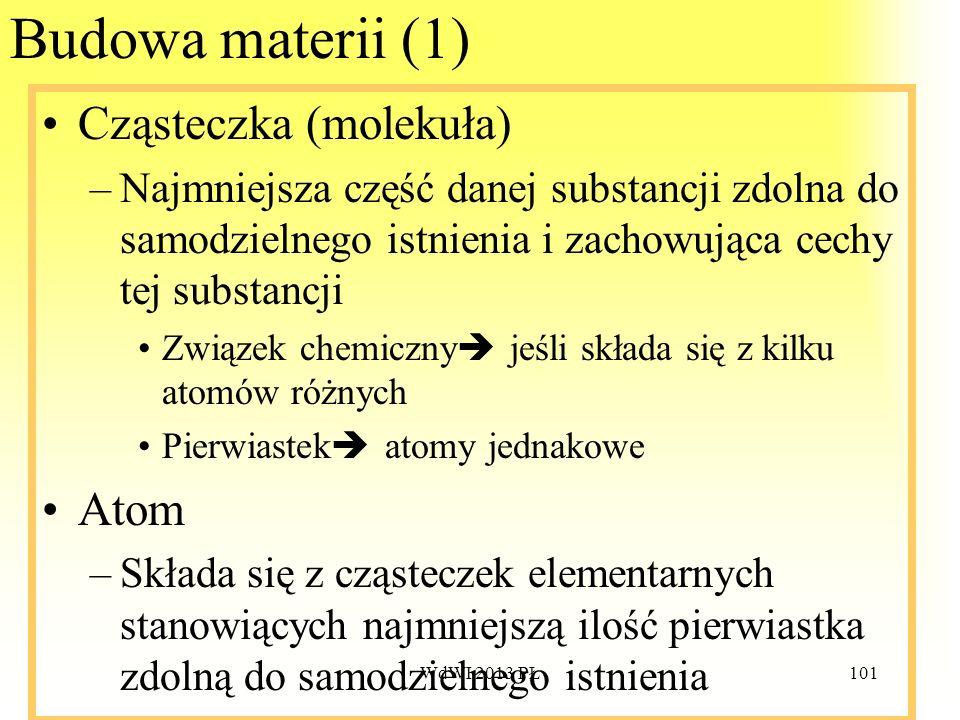 Budowa materii (1) Cząsteczka (molekuła) Atom