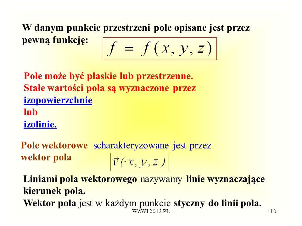 W danym punkcie przestrzeni pole opisane jest przez pewną funkcję: