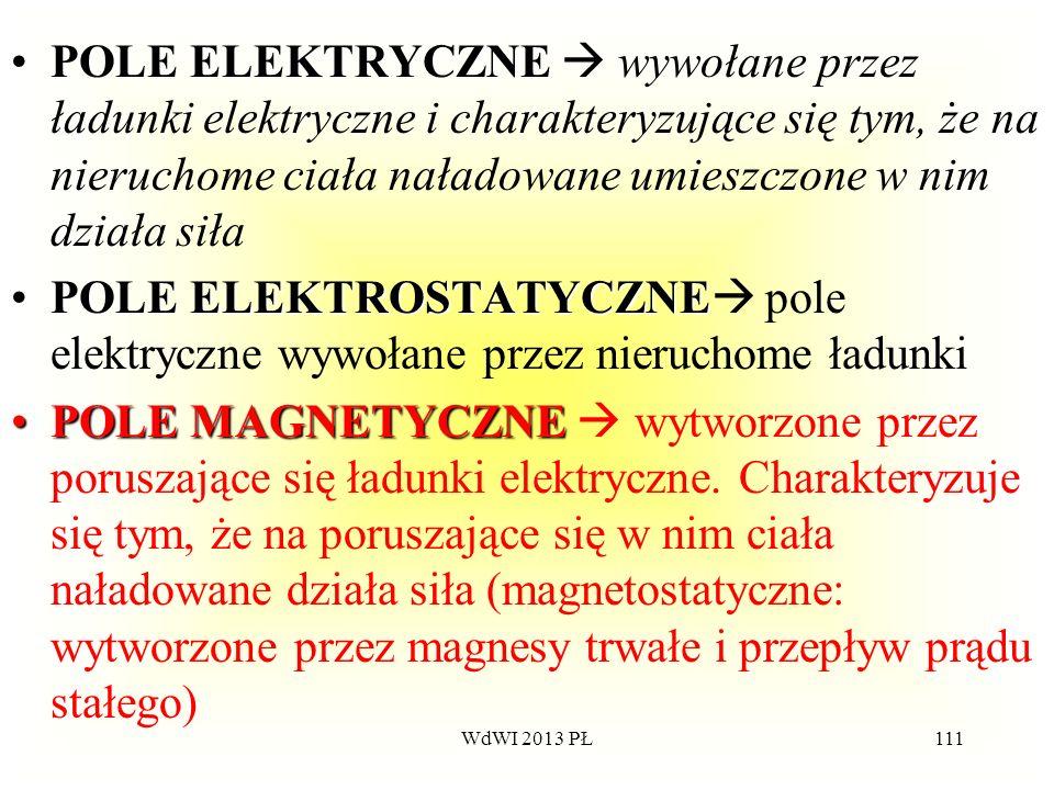 POLE ELEKTRYCZNE  wywołane przez ładunki elektryczne i charakteryzujące się tym, że na nieruchome ciała naładowane umieszczone w nim działa siła