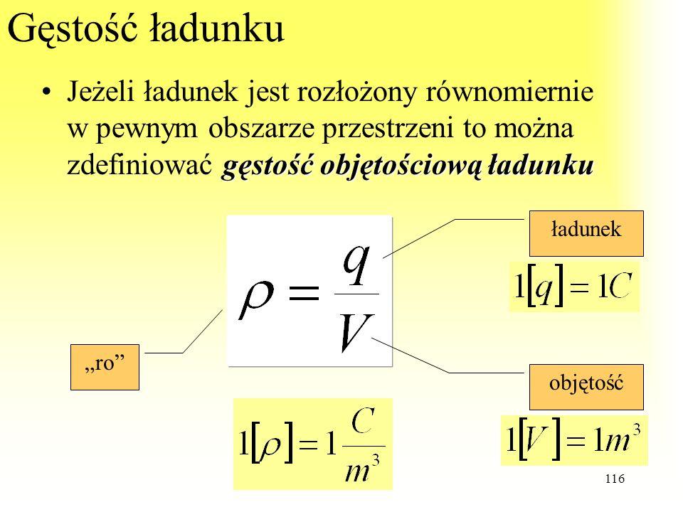 Gęstość ładunkuJeżeli ładunek jest rozłożony równomiernie w pewnym obszarze przestrzeni to można zdefiniować gęstość objętościową ładunku.