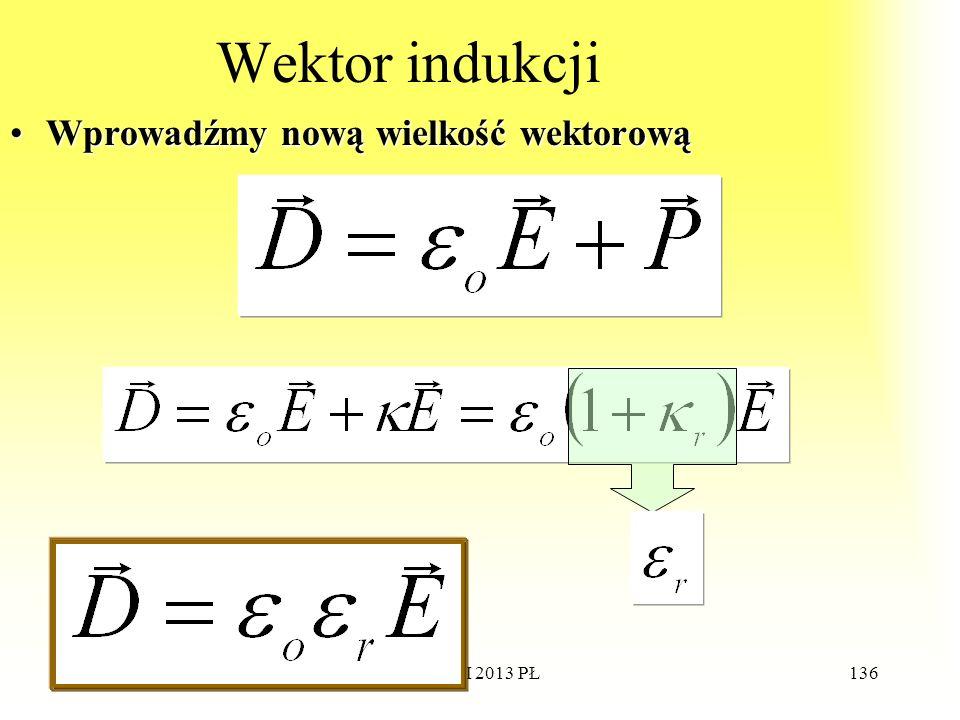 Wektor indukcji Wprowadźmy nową wielkość wektorową WdWI 2013 PŁ