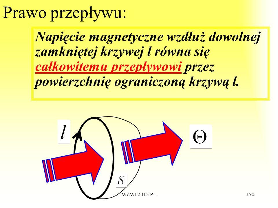 Prawo przepływu:Napięcie magnetyczne wzdłuż dowolnej zamkniętej krzywej l równa się całkowitemu przepływowi przez powierzchnię ograniczoną krzywą l.