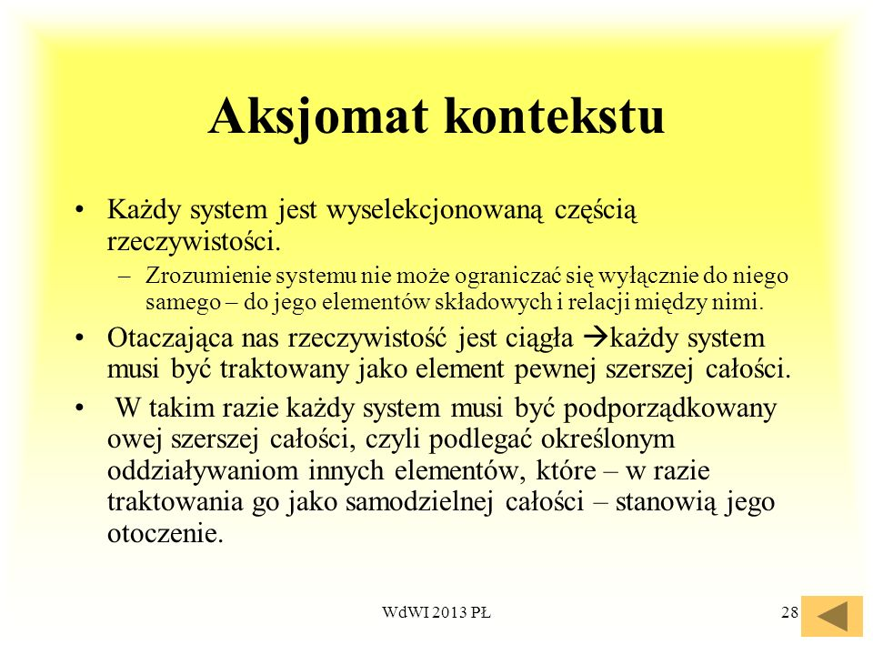 Aksjomat kontekstu Każdy system jest wyselekcjonowaną częścią rzeczywistości.