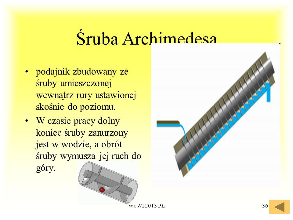 Śruba Archimedesa podajnik zbudowany ze śruby umieszczonej wewnątrz rury ustawionej skośnie do poziomu.