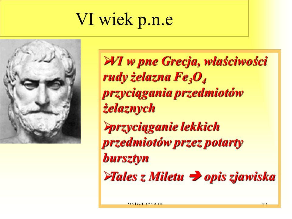VI wiek p.n.e VI w pne Grecja, właściwości rudy żelazna Fe3O4 przyciągania przedmiotów żelaznych.