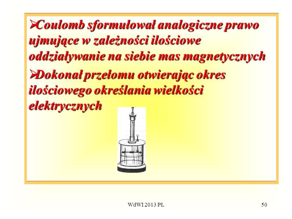 Coulomb sformułował analogiczne prawo ujmujące w zależności ilościowe oddziaływanie na siebie mas magnetycznych