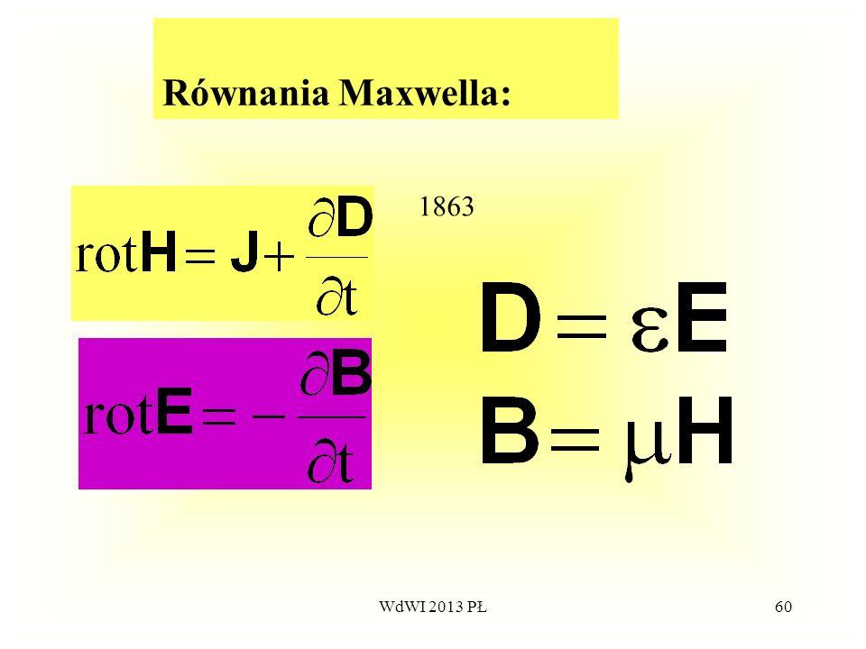 Równania Maxwella: 1863 WdWI 2013 PŁ