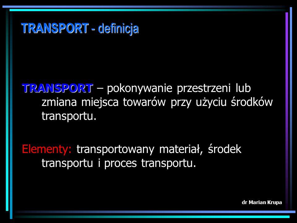 TRANSPORT - definicja TRANSPORT – pokonywanie przestrzeni lub zmiana miejsca towarów przy użyciu środków transportu.