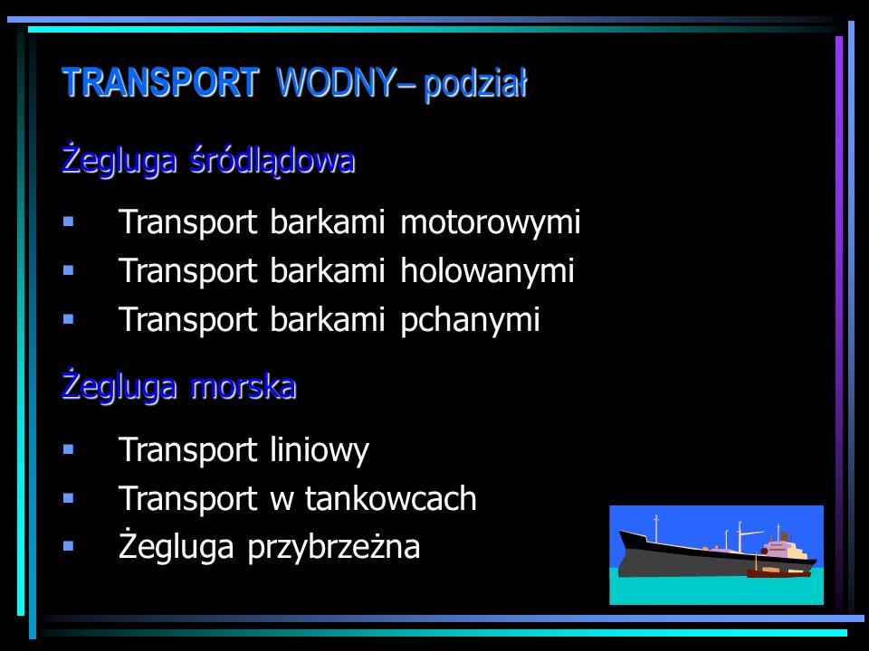 TRANSPORT WODNY– podział