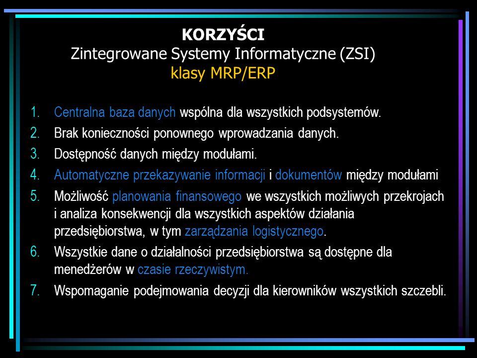 KORZYŚCI Zintegrowane Systemy Informatyczne (ZSI) klasy MRP/ERP