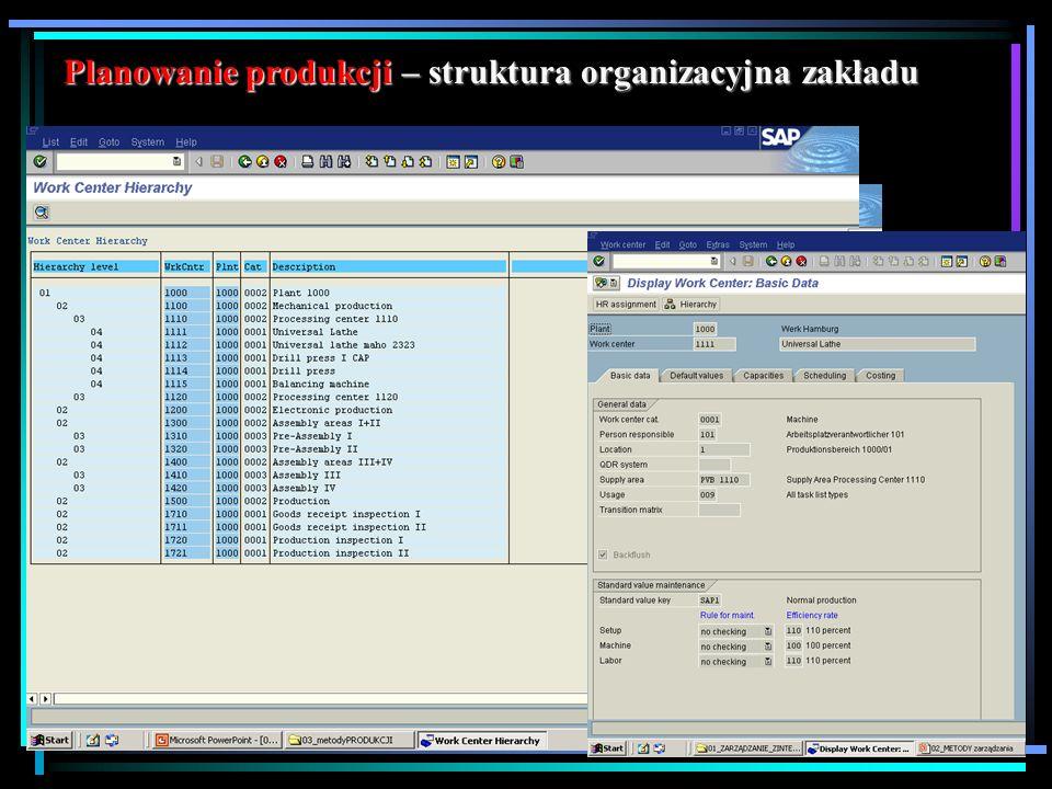 Planowanie produkcji – struktura organizacyjna zakładu
