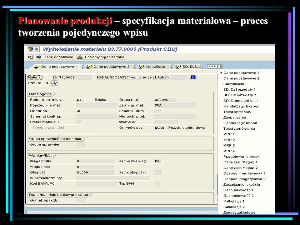 Planowanie produkcji – specyfikacja materiałowa – proces tworzenia pojedynczego wpisu