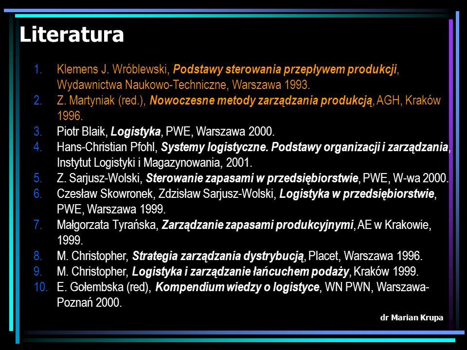 Literatura Klemens J. Wróblewski, Podstawy sterowania przepływem produkcji, Wydawnictwa Naukowo-Techniczne, Warszawa 1993.