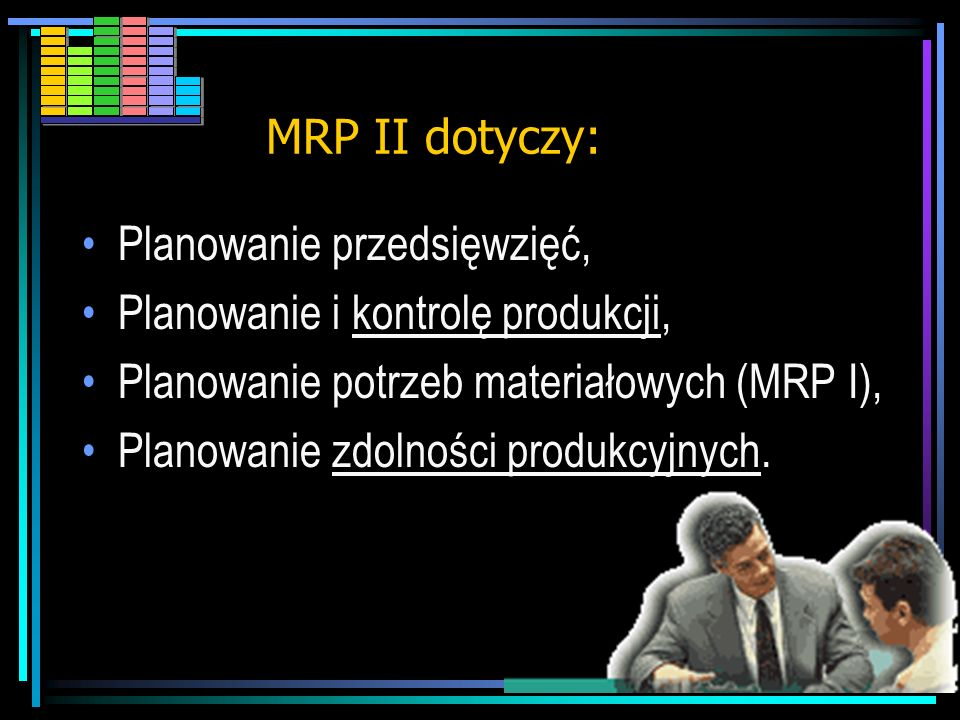 MRP II dotyczy: Planowanie przedsięwzięć, Planowanie i kontrolę produkcji, Planowanie potrzeb materiałowych (MRP I),
