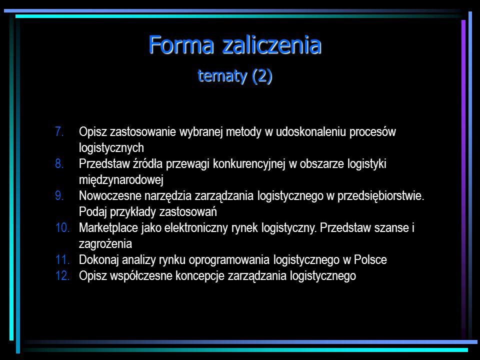 Forma zaliczenia tematy (2)