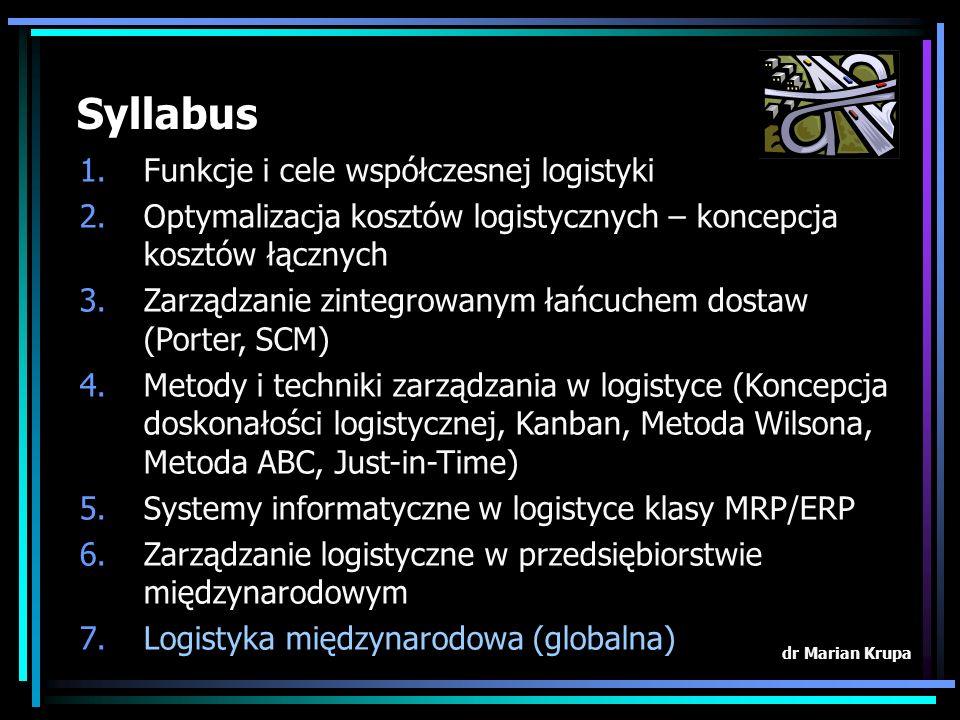 Syllabus Funkcje i cele współczesnej logistyki