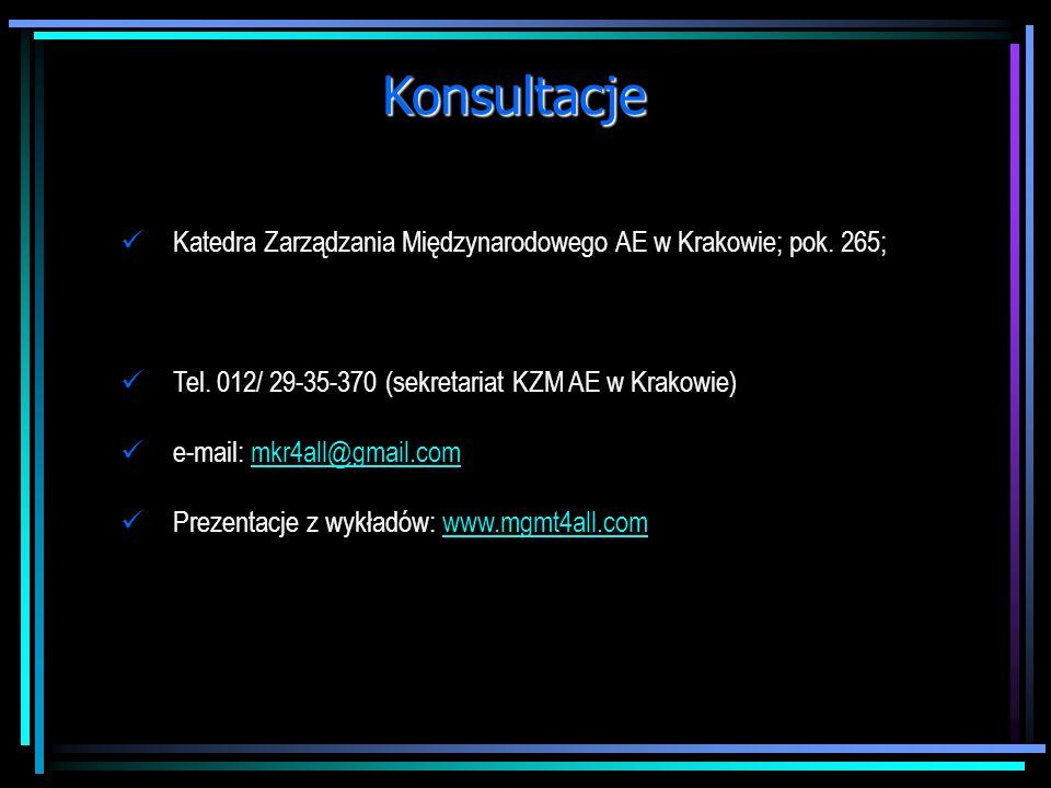 Konsultacje Katedra Zarządzania Międzynarodowego AE w Krakowie; pok. 265; Tel. 012/ 29-35-370 (sekretariat KZM AE w Krakowie)