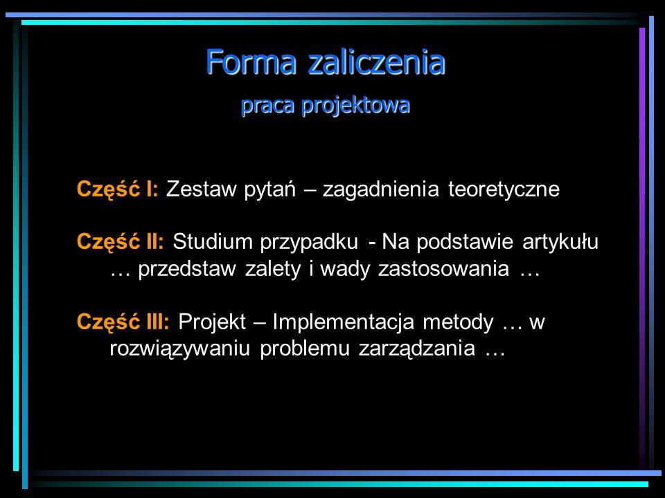 Forma zaliczenia praca projektowa
