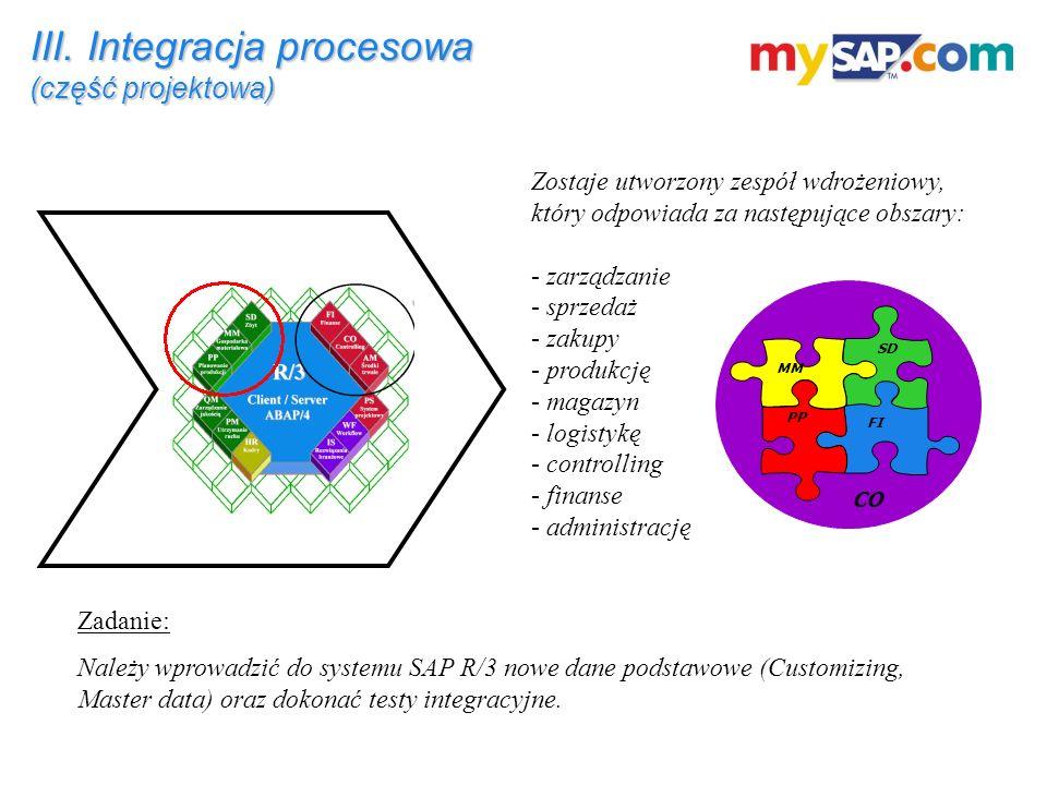 III. Integracja procesowa