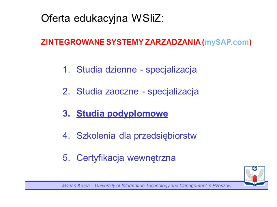 Oferta edukacyjna WSIiZ: