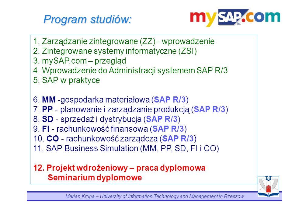 Program studiów: 1. Zarządzanie zintegrowane (ZZ) - wprowadzenie
