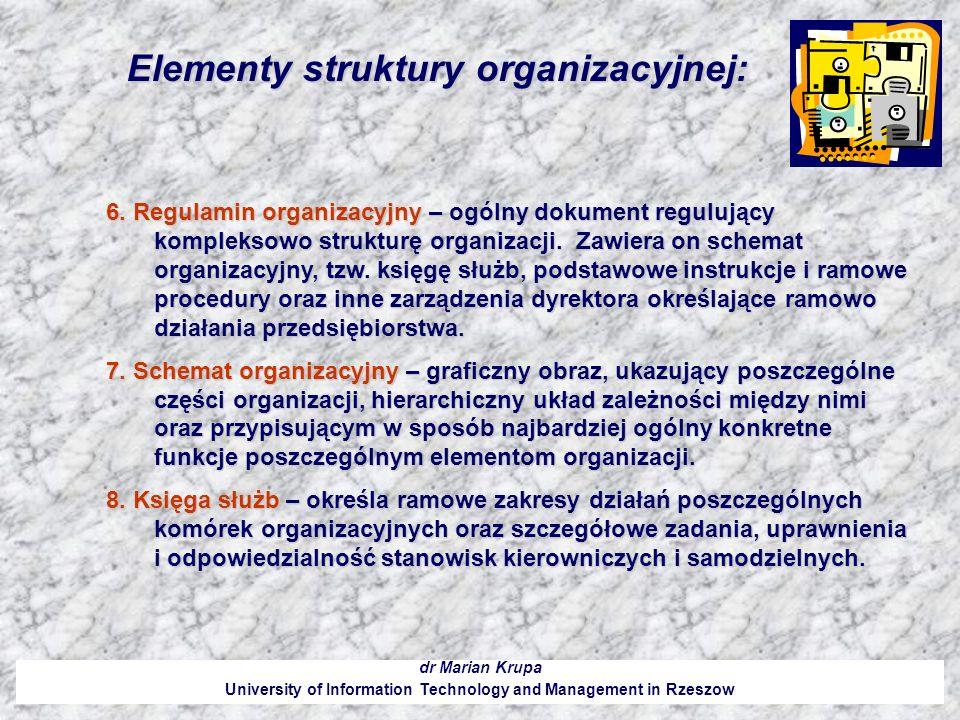 Elementy struktury organizacyjnej: