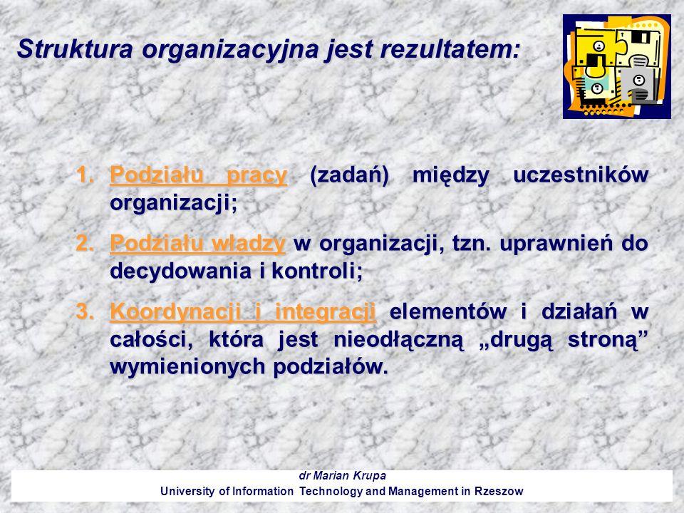 Struktura organizacyjna jest rezultatem: