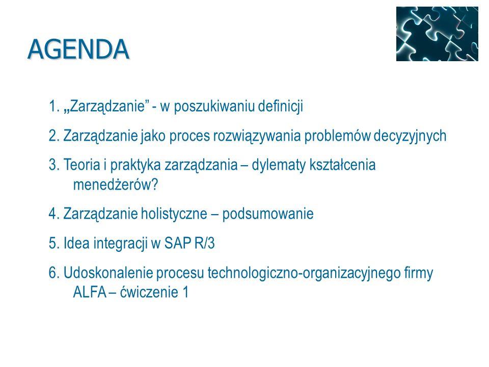 """AGENDA 1. """"Zarządzanie - w poszukiwaniu definicji"""