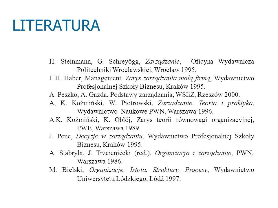 LITERATURA H. Steinmann, G. Schreyögg, Zarządzanie, Oficyna Wydawnicza Politechniki Wrocławskiej, Wrocław 1995.