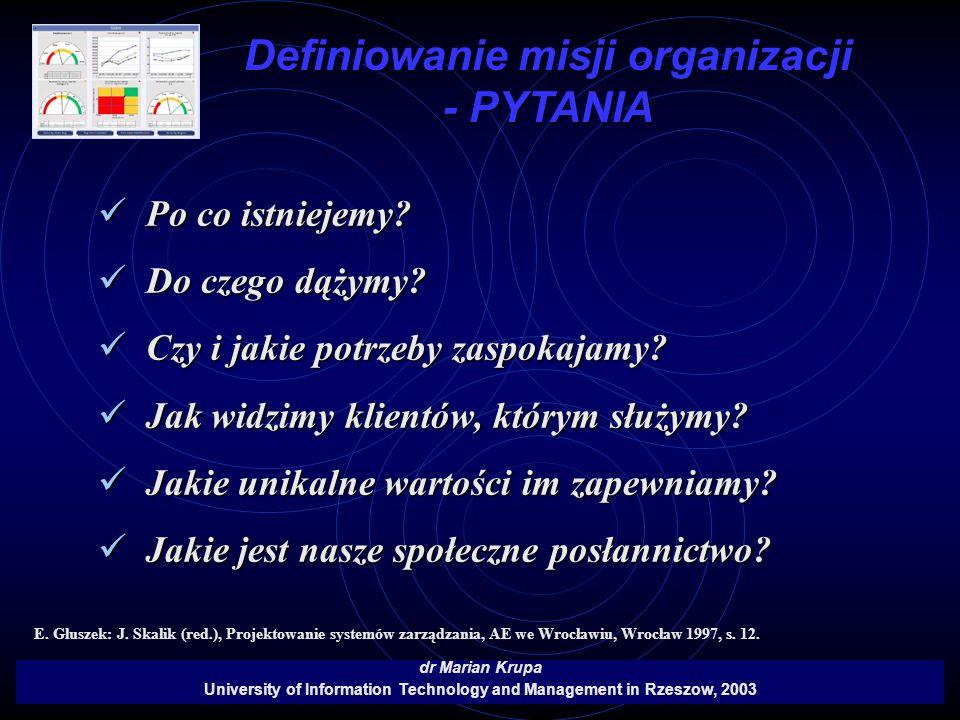 Definiowanie misji organizacji - PYTANIA
