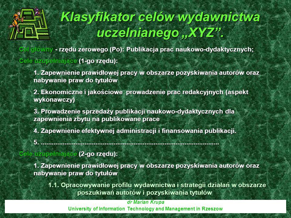 """Klasyfikator celów wydawnictwa uczelnianego """"XYZ ."""