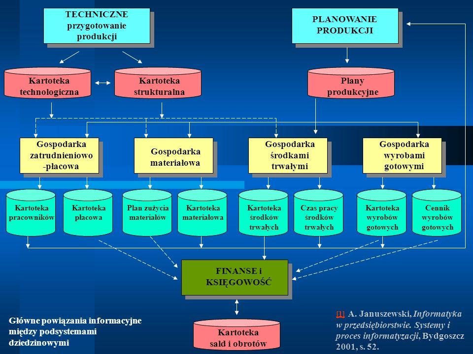 Główne powiązania informacyjne między podsystemami dziedzinowymi