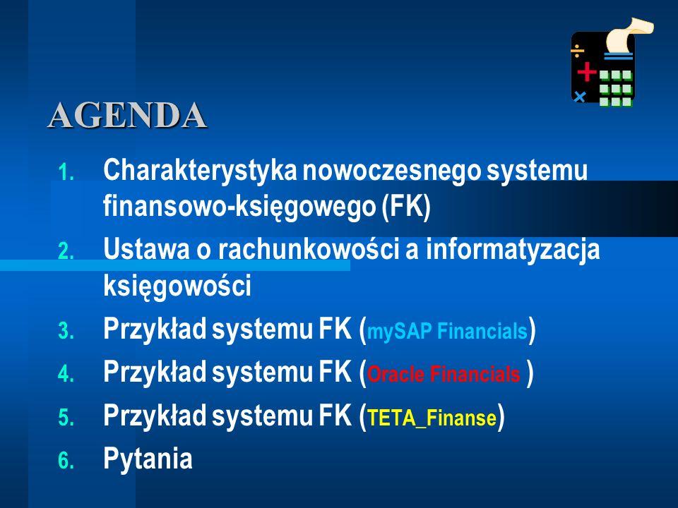 AGENDA Charakterystyka nowoczesnego systemu finansowo-księgowego (FK)