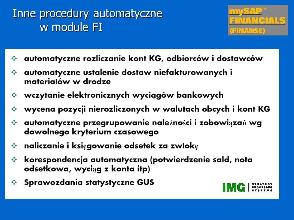 Inne procedury automatyczne w module FI