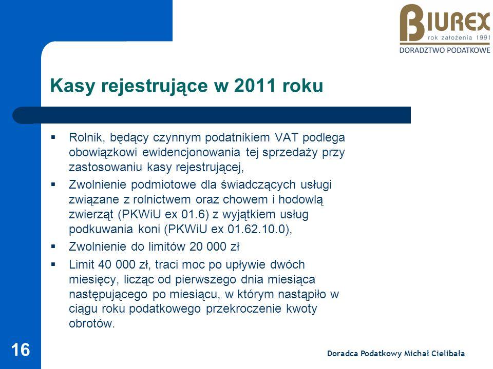 Kasy rejestrujące w 2011 roku