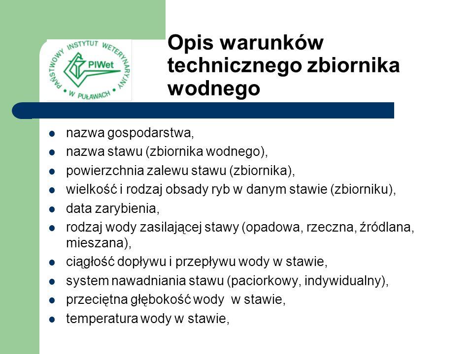 Opis warunków technicznego zbiornika wodnego
